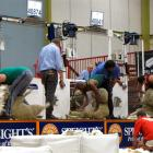 Representing their countries in the Tri-Nations fine wool shearing machine shearing test match in...