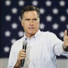 Republican presidential candidate Mitt Romney speaks at a campaign event at an RV dealer in...