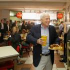 Republican presidential candidate, Sen. John McCain during a stop at Arthur Bryants BBQ for...