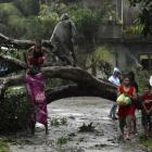 Residents saw an uprooted tree to clear the road after Typhoon Bopha hit Tagum City, in the...