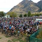 Riders prepare for the start of the mountain bike section of the Motatapu multisport race at...