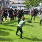 Riley Honings belts a tennis ball into the midriff of Scotland's opening batsman, Calum MacLeod,...