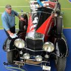 Robert Duncan, of Wanaka, prepares his 1934 Duesenberg model J on Friday.