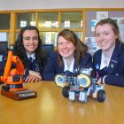 Robot fans: Otago Girls' High School pupils (from left) Rinad Tamimi (17), Olivia Moreton (16)...