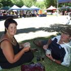 Robyn and Russell Gilchrist, of Dunedin, enjoy ice cream and strawberries at the St Bathans...