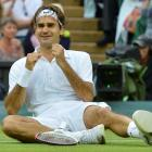 Roger Federer of Switzerland celebrates after defeating Andy Murray of Britain in their men's...