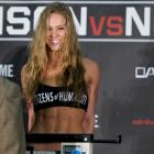 Ronda Rousey smiles during a weigh-in in Columbus, Ohio. Photo Reuters