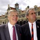 Rotary International president-elect John Kenny (left) is shown around the Dunedin Railway...