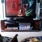 Roy Colbert's remotes, snacks, comfy chair and  50-inch television with Django ready to roll....