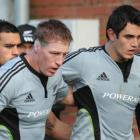 The locking pair of Brad Thorn, left and Isaac Ross