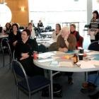 Rugby World Cup volunteers listen at a training seminar at Carisbrook yesterday. Photo by Linda...