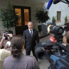 Russian President Vladimir Putin speaks to journalists at the Bocharov Ruchei state residence in...
