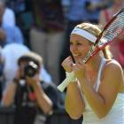 Sabine Lisicki of Germany celebrates after defeating Agnieszka Radwanska of Poland in their women...