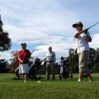 Sally Ussher, of Nelson,  tees off at the Alexandra Golf Club on the first day of the Central...