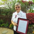 Salvation Army Lieutenant-colonel Ethne Flintoff, from Oamaru, with the Order of the Founder...