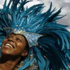 Saphra Bernard laughs during a photocall to promote the Notting Hill Carnival at City Hall in...