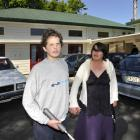 Sara Cohen School pupil Scott Harborne (17) walks to the car with his mother Leonie, who is...
