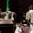 Saudi King Abdullah bin Abdulaziz al-Saud (seated on L) attends a Shura assembly in Riyadh...