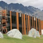 Scaffolding is removed from the front of the Remarkables Primary School. Photo by Emily Adamson.
