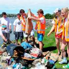 Scarfie Army coastal clean-up crew (from left) Samantha Panko (19), Conor Whitehead (20), James O...