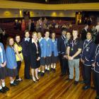 School pupils from Queen's High School and King's High School talk with Commonwealth Games gold...