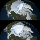 Sea ice coverage in 1980 (bottom) and 2012 (top), as observed by passive microwave sensors on...