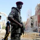 Security personnel at the the site of the bomb blast at the Italian Consulate in Cairo. REUTERS...