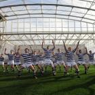 Knox college players perform a haka prior to their game against Selwyn College. Photo by Craig...