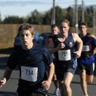 Senior boys in action at the Otago secondary schools duathlon championships at North Taieri...