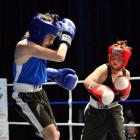 Shade Darroch (right) looks focused during his cadet/novice fight against Stahn Gee during the...