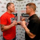 Shane Cameron (left) and Brian Minto clash at the Fight For Life in Auckland this weekend. Photo...