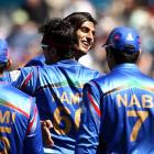 Shapoor Zadran (C) led the way for Afghanistan against Scotland with figures of 4-38. Photo Getty
