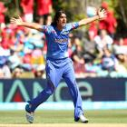 Shapoor Zadran of Afghanistan celebrates a wicket during the 2015 ICC Cricket World Cup match...