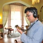 Singapore tourist Nicky Phua explores the Larnach Castle drawing room using  the new app this week.