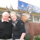 Sir Tim and Prue Wallis with a reminder of Sir Tim's pioneering deer industry days. Photo by Lucy...