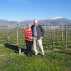 Slice of heaven... Bald Hills Vineyard owners Estelle and Blair Hunt, at the vineyard last week....
