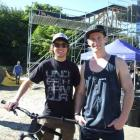 Slopestyle riders Kurt Sorge and Sam Pilgrim prepare for tonight's event at the Ballarat St car...
