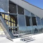 Some of the shattered windows of the Remarkables Ski Area's new base building. Photo by Gerrard...