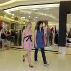 Sophie Brown and Pat Utenpattanun in Dunedin's Meridian Mall. Photo by Jane Dawber.