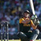 South Africa's AB de Villiers hits a boundary during the Cricket World Cup match against the West...