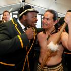 South African hooker Chilliboy Ralepelle (L) jokes with Toa Waaka at a Rugby World Cup welcoming...