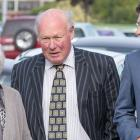 South Canterbury Finance accused Edward Sullivan arrives with family members. Photo NZ Herald