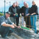 Southern Landscapes proprietor and stonemason Ron Turner works on the HMS Neptune memorial on...