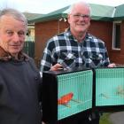 Southland Bird Club publicity officer and bird sales manager Bob Smith (left) and club president...