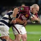 Southland's Jason Rutledge on the charge against Auckland. Credit:NZPA / Dianne Manson.