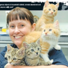 SPCA Otago office manager Brenda Stuart, of Dunedin, holds a litter of kittens which were dumped...