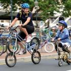 Sport Otago Green Prescription co-ordinator Nicola Shanks manages a double-decker backwards bike,...