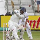 Sri Lanka's Kumar Sangakkara plays a shot during the third day of the second test against South...
