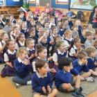 St Brigid's School pupils are delighted by the performance of Zirka Circus performer Kai Li, of...