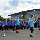 St Clair School pupils perform a powhiri for Education Minister Hekia Parata, who officially...